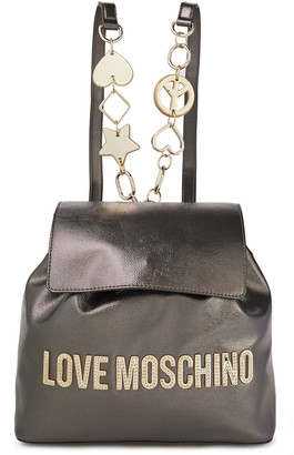Love Moschino Logo-appliqued Faux Glossed-leather Backpack