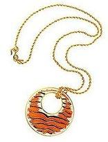Kenneth Jay Lane Tiger Print Pendant Necklace