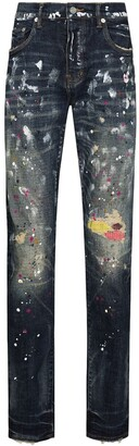 Purple Brand Paint Splatter Distressed Jeans
