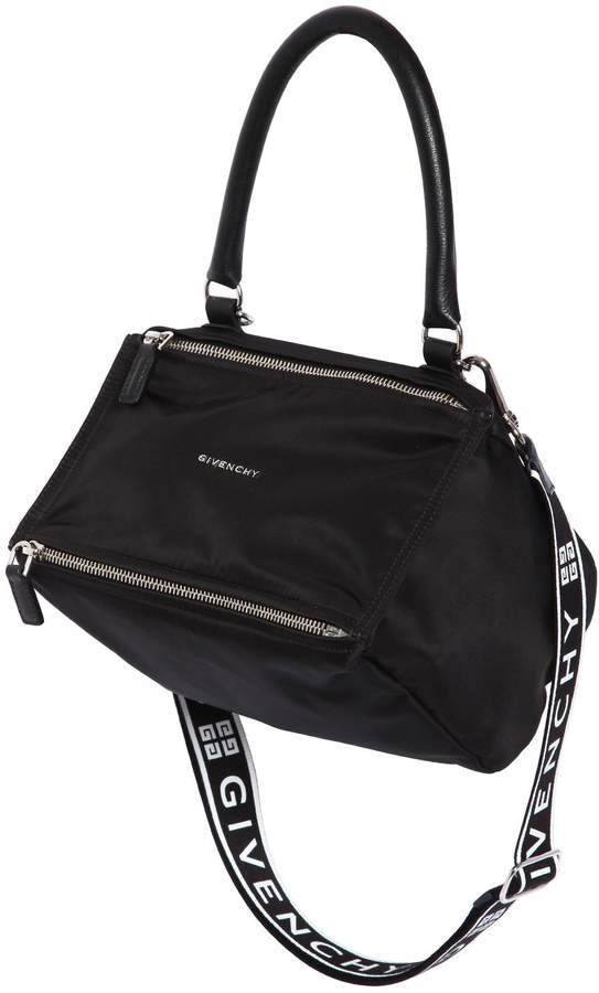 Givenchy Small Pandora Nylon Bag W/ Logo Strap
