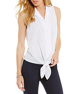 Daniel Cremieux Casey Point Collar Sleeveless Tie-Front Blouse
