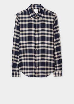 Paul Smith Men's Super Slim-Fit Navy Check Cotton Shirt