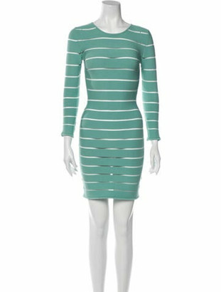 Balmain Striped Mini Dress w/ Tags Green