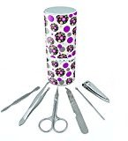 Manicure Pedicure Grooming Beauty Personal Care Travel Kit (Tweezers,Nail File,Nail Clipper,Scissors) - Flowers Geometric Flowers Magenta Mint Lime Floral