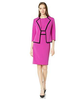 Le Suit Women's Stretch Crepe Wing Collar Open Jacket and Dress