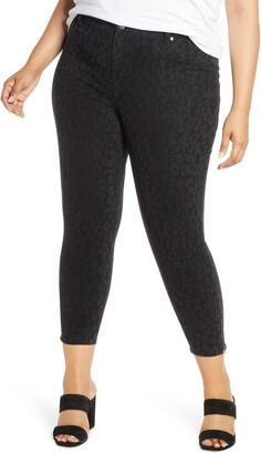 1822 Denim Tonal Leopard Print Ankle Zip Skinny Jeans