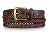 Tommy Hilfiger Brown Braided Leather Dress Belt