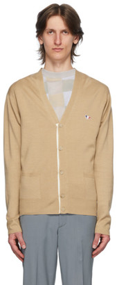 MAISON KITSUNÉ Beige Wool Tricolor Fox Patch Cardigan