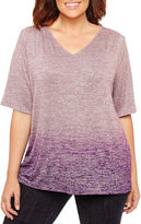 Liz Claiborne Elbow Sleeve V Neck T-Shirt-Womens Plus