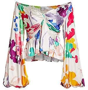 Caroline Constas Women's Onira Floral Puff-Sleeve Silk-Blend Top