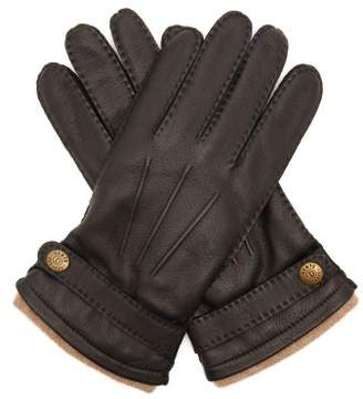 Dents Gloucester Cashmere Lined Deerskin Leather Gloves - Mens - Black