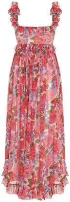 Zimmermann Poppy Frill-Trimmed Silk Midi Dress