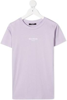 Balmain Kids logo-print crew neck T-shirt