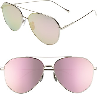 DIFF Dash 61mm Polarized Mirrored Aviator Sunglasses