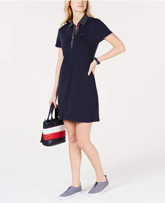 Tommy Hilfiger Polka-Dot Collar Polo-Shirt Dress