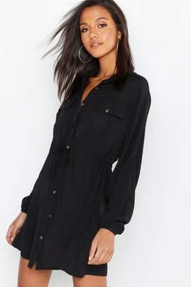 boohoo Linen Look Horn Button Utility Shirt Dress