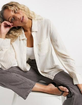 Emory Park relaxed sheer shirt in cream stripe