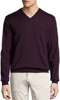 Neiman Marcus Wool V-Neck Sweater, Port