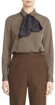 Isa Arfen Women's 'Classic' Stripe Cotton & Silk Blouse With Taffeta Bow