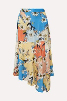 Munthe MUNTHE - Drama Asymmetric Floral-print Satin Midi Skirt - Orange