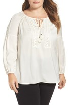 Daniel Rainn Plus Size Women's Lace Detail Peasant Blouse