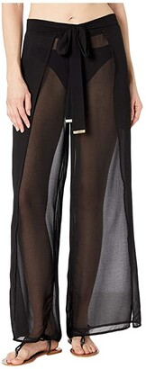 MICHAEL Michael Kors Solids Cover-Up Pants with Belt (Black) Women's Swimwear