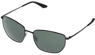 Ray-Ban RB3653 Square Metal Sunglasses 60 mm (Black) Fashion Sunglasses