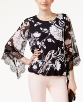Alfani Petite Printed Lace-Trim Bubble Top, Created for Macy's
