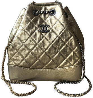 Chanel Gabrielle Gold Leather Backpacks