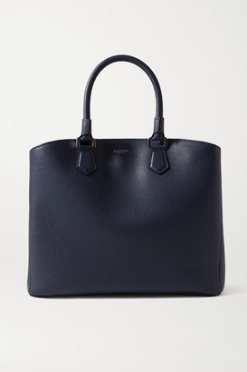 SERAPIAN Luna Textured-leather Tote - Navy