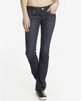 Express faded dark low rise barely boot jean