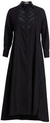 Alaia Poplin Soft Embroidered Bib Front Shirtdress
