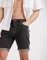 Asos Design DESIGN skinny denim shorts in retro black