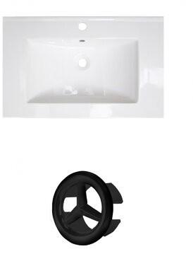 "Royal Purple Bath Kitchen Vee Ceramic 21"" Single Bathroom Vanity Top Faucet Mount: 4"" Centers, Overflow Color: Black"