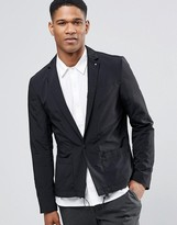 Asos Slim Blazer With Drawstring Hem