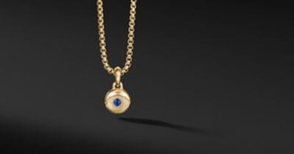 David Yurman Evil Eye Amulet In 18K Yellow Gold With Blue Sapphires