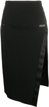 Off-White Logo-Print Side-Slit Skirt