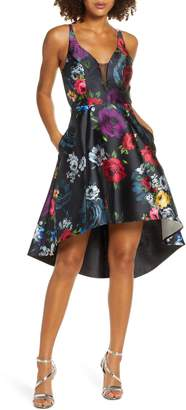 Sequin Hearts Floral Print High/Low Mikado Cocktail Dress