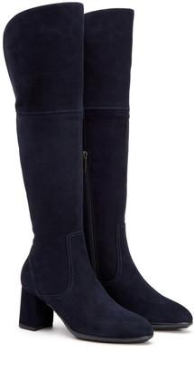 Aquatalia Divina Tall Leather Block Heel Boot