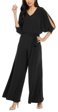 MSK Petite Embellished Split-Sleeve Jumpsuit