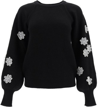 RED Valentino Flower Embroidered Sweater