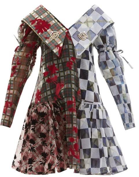 Thumbnail for your product : Chopova Lowena Exaggerated-collar Flocked-taffeta Mini Dress - Multi