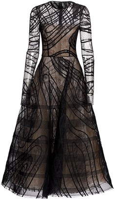 Oscar de la Renta Lace Long-Sleeve Tulle A-Line Dress