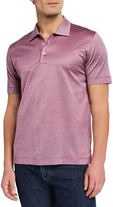 Canali Men's Yarn-Dyed Lisle Polo Shirt, Burgundy