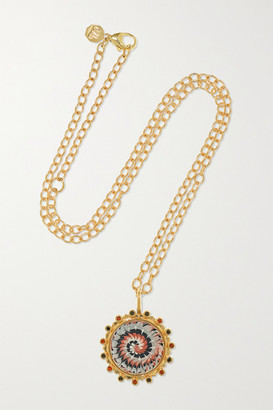Marlo Laz Tie Dye 14-karat Gold, Enamel, Garnet And Diamond Necklace