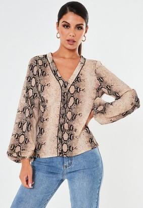Missguided Brown Snake Print Pyjama Style Shirt