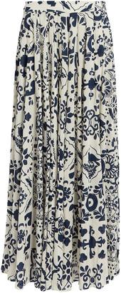 Carolina K. Contessa Cotton-Silk Floral Skirt