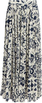 Carolina K. Contessa Cotton-Silk Floral Skirt