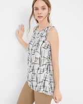 White House Black Market Petite Sleeveless Printed Tunic