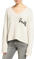 Wildfox Couture Smile Embroidered V-Neck Sweater